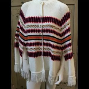 Vintages acrylic button down knit cape/poncho